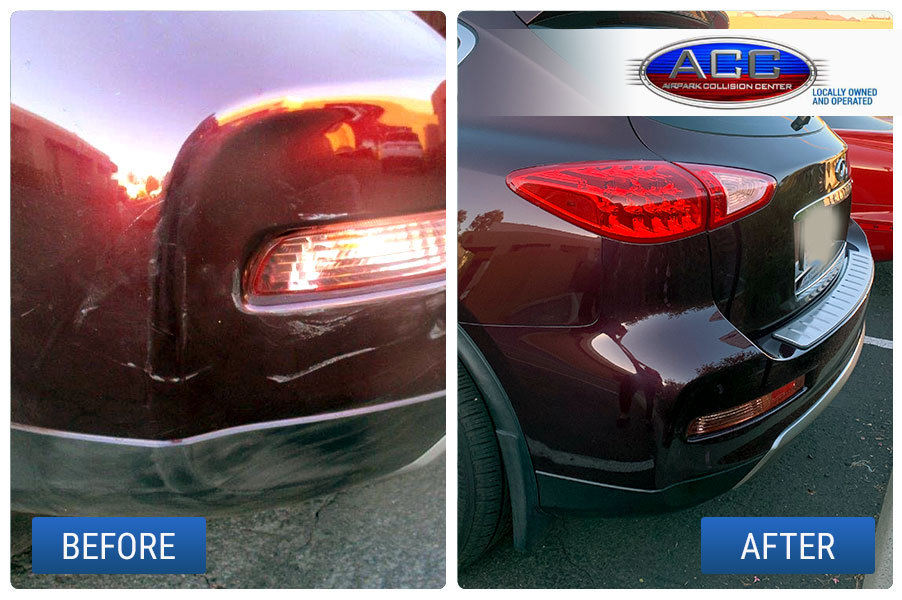 inifiti vehicle before and after collision repair